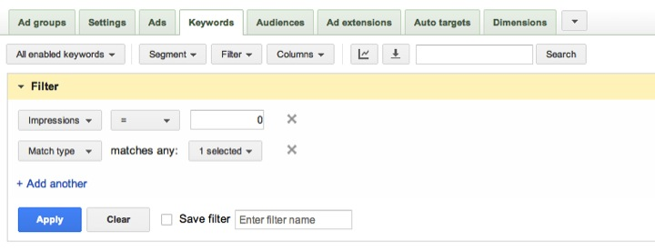 Filtro Adwords